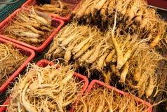 Ginseng in Korean market Stock Photos