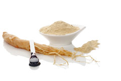 Ginseng powder, extract and ginseng root Stock Photo