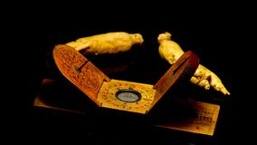 Ginseng, root on a turn table. With antiqque Chinese solar watch stock footage