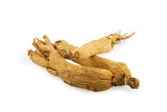 Ginseng roots on white background. Three ginseng roots on white background Royalty Free Stock Photos