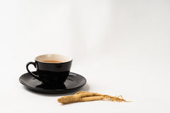 Ginseng tea Chinese medicine herb. Ginseng tea cup with ginseng root for healthy herb royalty free stock photography