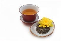 Ginseng verdraaide theebladen met gele bloem en gaiwan met thee Royalty-vrije Stock Afbeelding