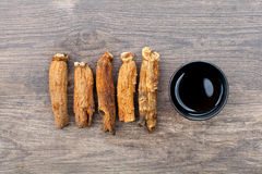 Ginseng on the wood Stock Photography