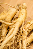 Ginseng with wooden background Stock Image