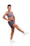 Ginástica aeróbica da mulher negra Foto de Stock