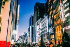 Ginza Bezirk in Tokyo Stockbilder