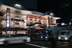 Ginza del teatro di Kabuki alla notte Immagine Stock