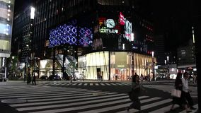 Ginza. Luxury shopping district Ginza at night stock video footage