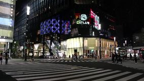 Ginza. Luxury shopping district Ginza at night stock footage