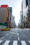 Ginza, Tokyo, Japan. Ginza, a district in Chuo-ku, is one of the most famous downtown areas in Japan. Ginza means silver mint, and its name derives from the Stock Image