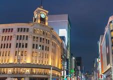 GINZA, TOKYO/JAPAN - DECEMBER 22 2018: Nachtmening van Ginza-District royalty-vrije stock foto's