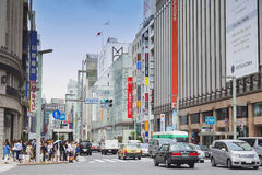 Ginza Tokyo, May 2016: Ginza is a luxurious shopping area of Tokyo. It attracts many foreigners. `Bakugai explosive buying` Royalty Free Stock Images