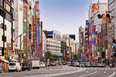 Ginza Tokyo, May 2016: Ginza is a luxurious shopping area of Tokyo. It attracts many foreigners. `Bakugai explosive buying`. Futuristic architecture in Tokyo Royalty Free Stock Images