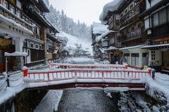 Ginzan-onsen历史的区在冬天 图库摄影