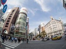 Ginzastraat, Tokyo, Japan Stock Foto's