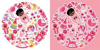 Gioca le icone per la neonata del mulatto Insieme della composizione nel cerchio Immagini Stock