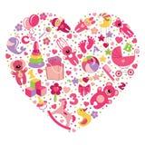 Gioca le icone per la neonata nel cuore Fotografie Stock