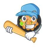 Giocando a baseball tailandese del picchiettio isolato nel fumetto royalty illustrazione gratis