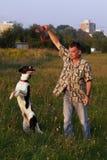 Giocando con il cane Immagini Stock