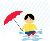 Giocando nella pioggia Illustrazione Vettoriale