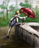 Giocando nella pioggia 3 Fotografia Stock Libera da Diritti
