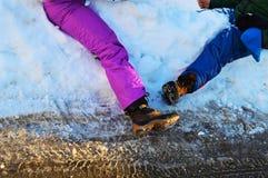 Giocando nelle alpi svizzere Immagine Stock