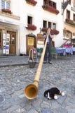 Giocando su un Alphorn Immagini Stock