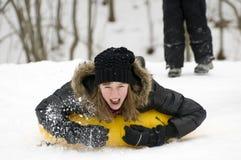 Giocando sulla neve Fotografie Stock