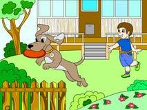 Giocando un ragazzo in natura con un cane in frisbee colori il libro per il vettore del fumetto dei bambini Immagine Stock