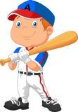 Giocar a baseballe del bambino del fumetto Fotografie Stock Libere da Diritti