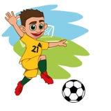 Giocar a calcioe allegro del ragazzo royalty illustrazione gratis