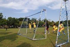 Giocar a calcioe o calcio dei bambini Immagini Stock Libere da Diritti
