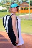 Giocar a tennise Fotografie Stock
