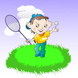 Giocar a tennise del ragazzo royalty illustrazione gratis