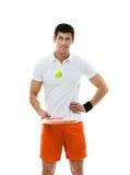 Giocar a tennise sportivo dell'uomo Fotografie Stock Libere da Diritti