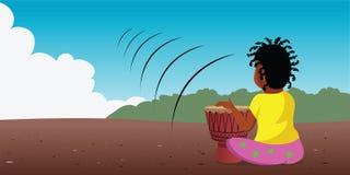 Giocatore africano del tamburo illustrazione vettoriale
