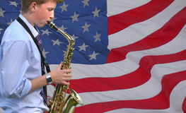 Giocatore americano di jazz Immagini Stock
