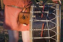 Giocatore antico del tamburo Fotografia Stock Libera da Diritti