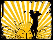 Giocatore con il bastone di golf Immagini Stock