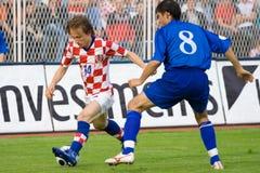 Giocatore croato Luka Modric di gioco del calcio o di calcio Immagini Stock Libere da Diritti