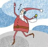 Giocatore d'ascolto allegro e ballare di Santa Claus. Illustrazione Vettoriale