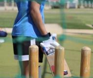 Giocatore del cricket alla rete immagine stock