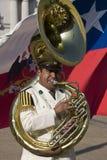 Giocatore del Tuba in fascia presidenziale - Cile Fotografie Stock