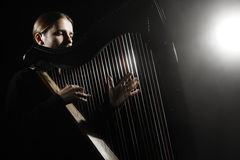 Giocatore dell'arpa dell'Irlandese Arpista del musicista Fotografia Stock Libera da Diritti