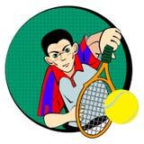 Giocatore dell'uomo di tennis Simbolo di vettore Immagini Stock Libere da Diritti