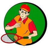 Giocatore dell'uomo di tennis Simbolo di vettore Immagine Stock