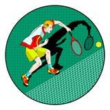 Giocatore dell'uomo di tennis Simbolo di vettore Fotografie Stock Libere da Diritti