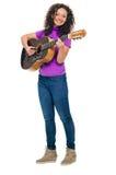 Giocatore della donna della chitarra Fotografia Stock