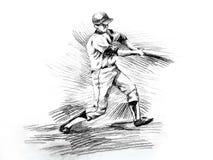 Giocatore della pastella di baseball che colpisce disegno Fotografie Stock