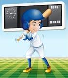 Giocatore di baseball con la mazza da baseball nel campo Fotografia Stock Libera da Diritti